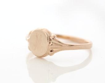 Rose gold signet ring • Personalized initial ring • Custom rose gold ring • Monogram ring