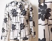 Mod 60s Top,Vintage Black Top, Mad Men Top, Vintage Bow Tie Top,Vintage black and white top, floral top,Vintag white top,Black Blouse - L/XL
