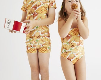 FRIED CHICKEN & WAFFLES : Girl's Tank Swimsuit