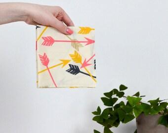 Pink & Yellow Arrow Print Hanky / Unisex / Spring - Follow your Heart Handkerchief