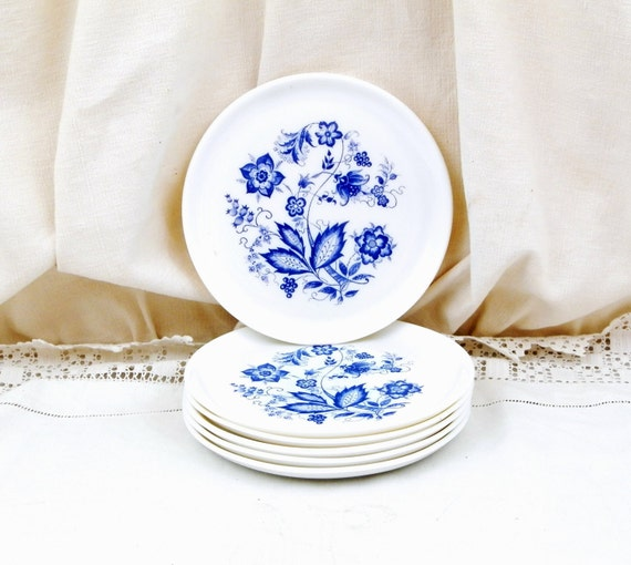 Pair 2 Vintage French White Milk Glass Dessert Plate with Blue Floral Motif,  Arcopal Style Retro Home, Mid Century 1960s 1970s Decor