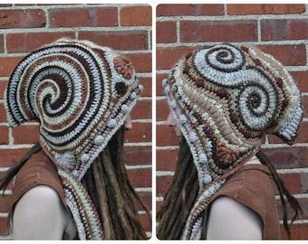 Sepia Freeform Crochet Hood // Ooak Fiber Art Scarf