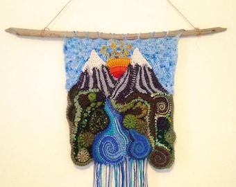 Mountain Sunrise Freeform Crochet Wall Hanging // Ooak Yarn Painting