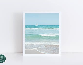 Mediterranean Sea Photography Print, Blue Ocean, Vitamin Sea, Sailboat, Blue and White Decor, Baby Blue, Turquoise Water, Turquoise White