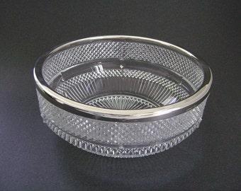 Vintage Glass Bowl, Salad Bowl, Mid Century, English, Silver Rim Bowl, Silverplate England, Pressed Glass Bowl, Starburst, Diamond Pattern