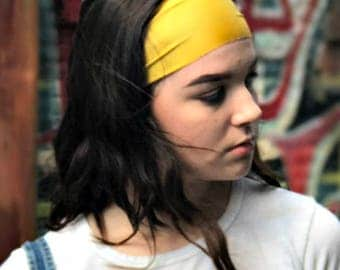 The BEST Yoga Running Headband ever - NonSlip Comfy Workout Headband - Yellow Headband - No Slip Headband - Wide Headband - MIDNIGHT