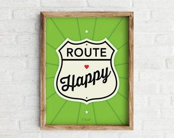 Route Happy Art Print, Vibrant fun wall art