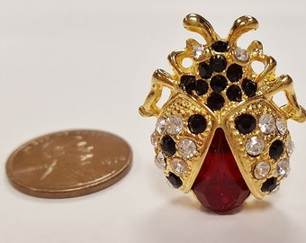 1 Crystal Ruby Jet Rhinestone Ladybug Gold 26x23mm. Cabochon Finding E210