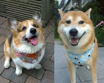 Dog bandana Reversible pet bandana with rice ball and chrysanthemum design Onigiri and kiku print cotton bandana ( L)