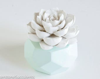 Succulent Sculpture Geometric Planter Faux Plant Indoor Planter Desktop Accessories Modern Minimalist HomeOffice Decor Unique Art Object