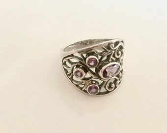 Amethyst sterling silver intricate ring size 8- February birthstone- statement silver amethyst ring