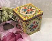 Pretty Vintage Floral Tin Box, Mid Century Daher Sunny Yellow Tin Pink Flowers, Cottage Chic Boho Decorative Keepsake Box