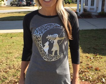 Artemis Shirt | Moon Shirt | Greek Goddess | Yoga Shirt | Raglan | Moon Tee | Baseball Tee | Arrow Shirt | Boho Tee | Yoga Top