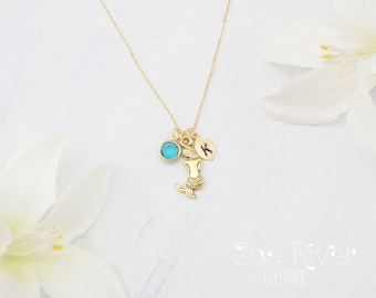 Personalized birthstone, mermaid necklace. Choose silver or gold mermaid necklace. Elegant and dainty