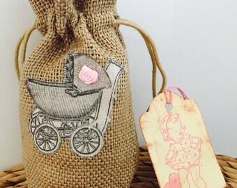 40 x Pram Baby Girl Baby Shower Favor Gift Bags Hessian / Jute / Burlap