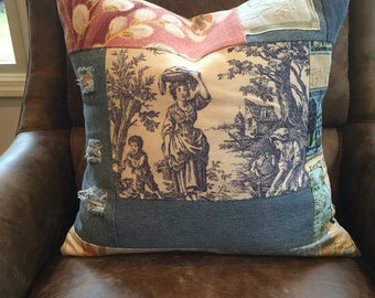 SALE vintage barkcloth toile ripped denim vintage lace pillow cover