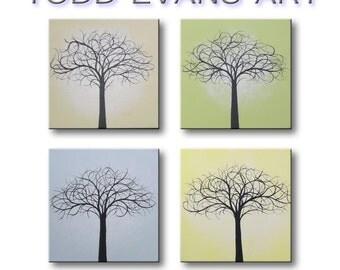 "Abstract Canvas Art Paintings Four Seasons Wall Art Wall Decor Modern Art Minimalist Home Decor 4 Piece 12""x12"" Each Original Painting"