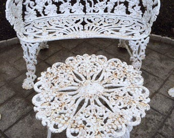 Cast iron outdoor furniture paired 4 pc.set loveseat settee bench 2 chairs table ornate grape leaf pattern classic seasonal garden seating