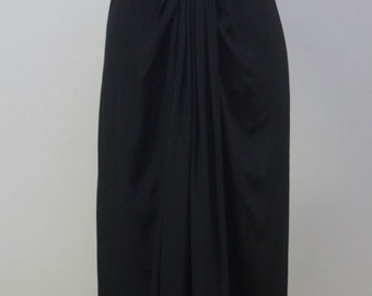 Vintage 1970s Stylish Black Albert Capraro Silk Dress Size 8