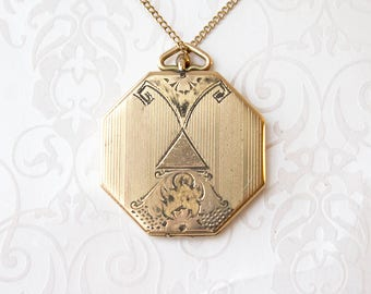 Unique Octagon Gold Filled Locket Necklace, gold filled octagon locket, late Victorian locket, wedding locket, signed Sykes & Strandberg