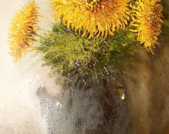 """Still-life painting """"Yellow chrysanthemums"""". Written on canvas with oil paints."""