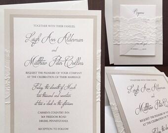Layered Lace Wedding Invitation, Lace Wedding Invitation -LEIGH ANN