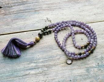 Beautiful amethyst / obsidian gemstone mala necklace
