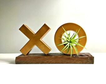 Gold bronze XO air plant display deskdecor on reclaimed wood. Kisses and hugs  Living decor- Tillandsia// unique gift desk decor/unique