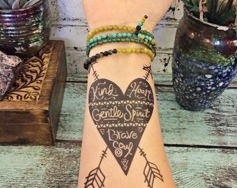 Temporary Tattoo- Kind Gentle Brave - Boho Tattoo - Heart and Arrows Tattoo