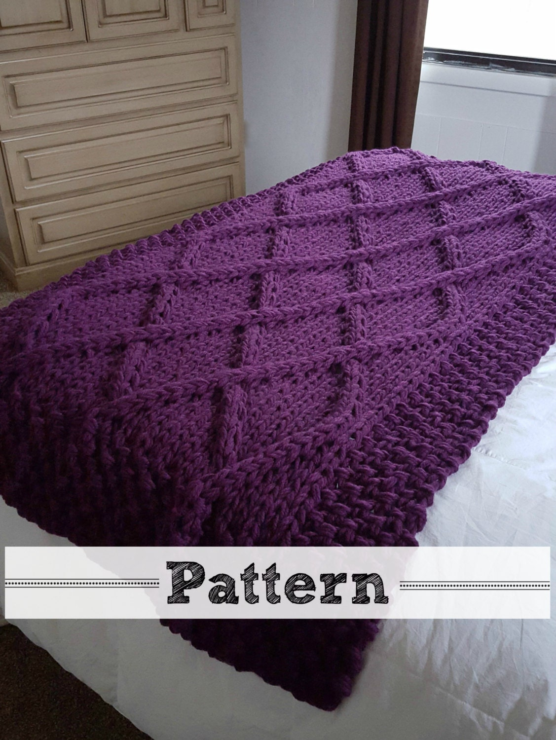 Cable Knit Throw Pattern : Lattice Cable Knit Blanket PATTERN