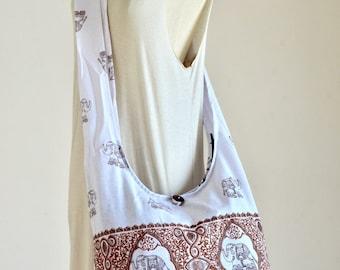 White Elephant Bag Hippie Hobo Bag Sling Crossbody Bag Boho Bag Shoulder Bag Messenger Bag Cotton Bag Purse Tote Bag Tote Handbags