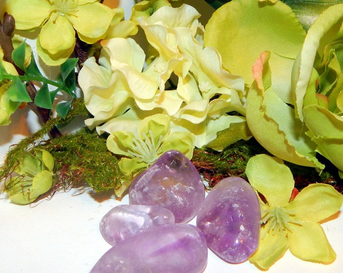 TUMBLED AMETHYST gemstone - many sizes, hand-picked natural stone - Reiki Wicca Pagan Energy-work Tool