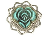 Turqiouse Blue Floral Scatter Pin Molded Plastic