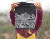Vila Bandana - Mountain Print - Block Printed Merino Wool Neckwarmer/Headband/Facemask