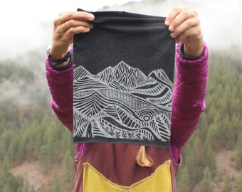 Vila Bandana - Mountain Print - Block Printed Merino Wool Neckwarmer/Headband/Facemask