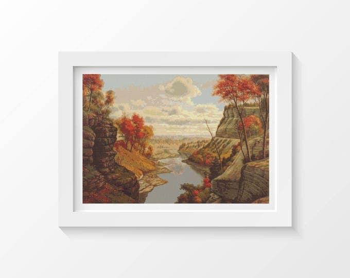 Cross Stitch Pattern PDF, Embroidery Chart, Scenery Cross Stitch, The Gorge at Letchworth Park by Levi Wells Prentice (PRENT04)