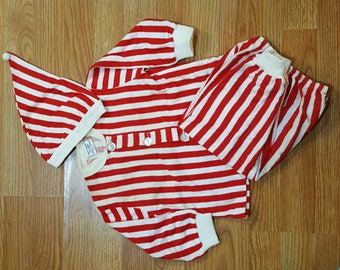 Vintage Baby Pj Pajama Set Red and White Stripes with Hat