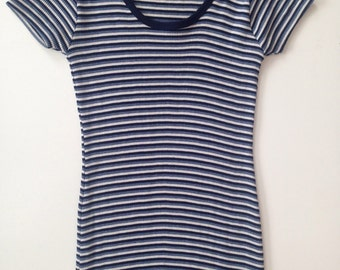 The Limited Medium Blue Long Striped T Shirt Dress with Slit