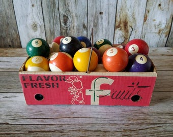 1960's Complete Set of Vibrant VINTAGE POOL BALLS, Regulation Size