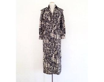 shirt dress vintage / 80s print midi dress long cotton dress button up avant garde designer long sleeve shirtdress abstract albert nipon