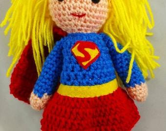 Crocheted Super Girl inspired doll