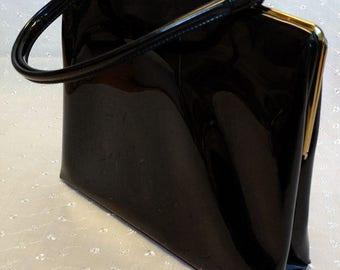1950s Theodor of California Black Patent Leather Handbag
