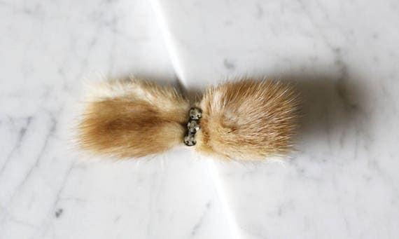 1940s Mink Hair Bow // 1940s Mink Hair Clip // vintage pin