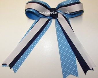 Blue Ponytail Holder, Navy Blue White Ribbon Bow, Cheer Bows, Volleyball, Soccer, Softball, Football Cheerleader Team Bows, Cheap Bulk Price