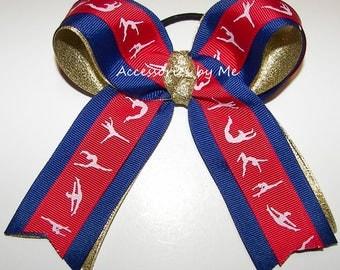 Gymnastics Bow, US Gymnastics Hairbow, Red Blue Gold USA Spirit Ribbons, Girls Children Dance Lyrical, School Team Discount Wholesale Lots