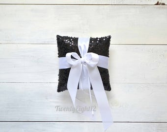 Black Sequin Ring Bearer Pillow with White Satin Bow
