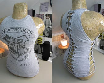 Harry Potter Hogwarts Alumni Refashioned Gray T-Shirt into Tank Top with Back and Side Woven Cut-Outs