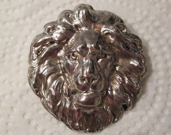 LARGE Vintage Silver Plated LION PENDANT Hand-Hammered Fierce Cat - Nature Animal Lover - Very Detailed - 3D Puffy - Estate Piece 1980's