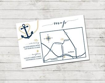 Wedding Map - Event Map - Customizable Wedding Map - Nautical Wedding - Anchor Heart - Navy Blue and Gold - Horizontal - Printable