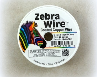 Zebra Wire, SAPPHIRE 22g (1483) - Coated Copper Wire, Sapphire Color - 22 Gauge Wire for Wire Wrapping - 15 yard spool